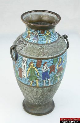 1920s Large Chinese Egyptian Revival Cloisonne Enamel Art Brass Bronze Urn Vase