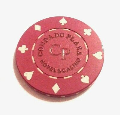 CONDADO PLAZA Casino DARK RED Roulette Poker Chip SAN JUAN Puerto Rico Bud Jones