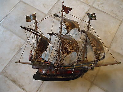 "Vintage Handmade 17"" Tall Wooden Ship Model, Original Paint, Germany, Pirate"