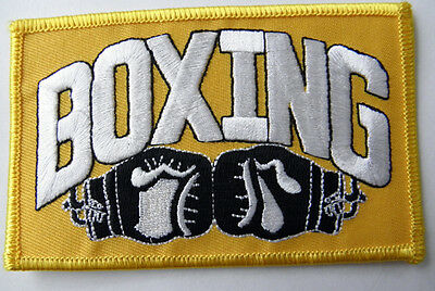 Boxing & Boxing Gloves Novelty Slogan Embroidered Patch 3 X 2 Inches