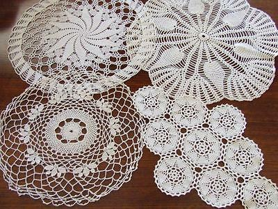 Four Beautiful Cream Hand Crocheted Table Centre Doilies - Individual Designs