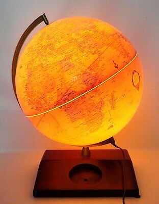 "GEORGE F CRAM'S Iluminated Lighted Antique World Globe 12"" Wood Base"