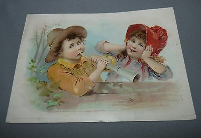 Lion Coffee Advertising Card Woolson Spice Co. Toledo OH Boy with Horn 1894