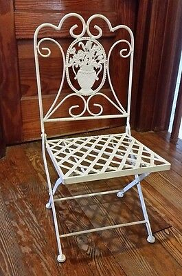 Vintage Mid Century Child Size Metal Folding Garden Chair Floral Bears Dolls