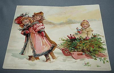 Lion Coffee Advertising Card Woolson Spice Co. Toledo OH Children with Sled 1894