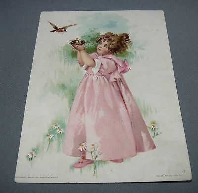 Lion Coffee Advertising Card Woolson Spice Co. Toledo OH Girl with Birds 1893