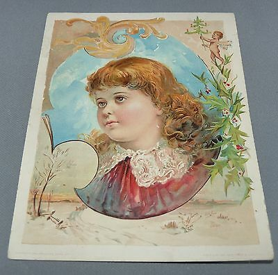 Lion Coffee Advertising Card Woolson Spice Co. Toledo OH Girl with Cherub 1894