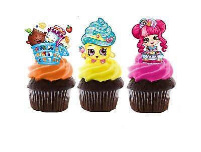 Shopkins Edible Wafer Stand-Up Cupcake Toppers - Set of 16