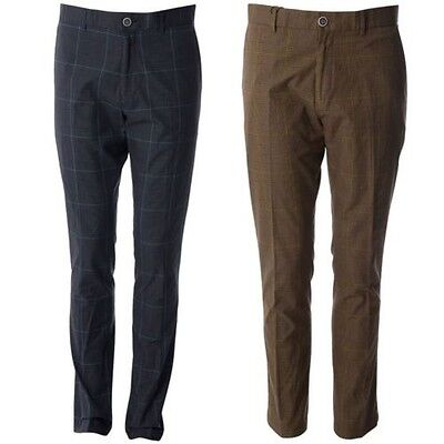 Gabicci Vintage Mens Check Patterned Pants Designer Tailored Trousers 30R-40L