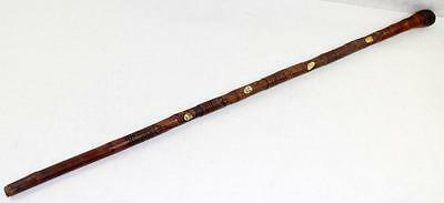 Antique 1868 Japanese Hand Carved Bamboo Walking Cane with Ivory Inlay Faces