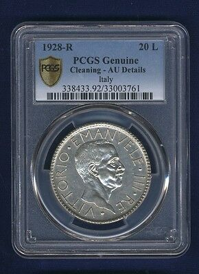 "Italy  1928  20 Lire  Silver Coin  Certified Pcgs ""almost Uncirculated Details"""