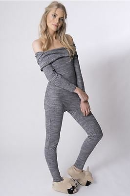 Womens Off Shoulder Grey Lounge Wear Ladies Tracksuit All in one Jumpsuit