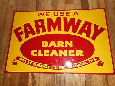 Vintage NOS Farmway Barn Cleaner Advertising 2-Sided ORIGINAL FARM AG METAL SIGN
