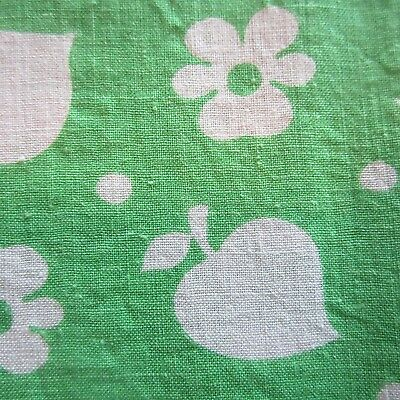 Vintage Fabric Quilt Craft Sew Dress Great Lime Green Novelty Cotton 1960S