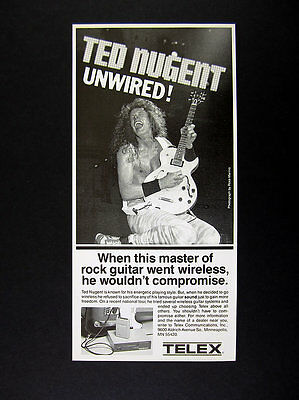 1987 Ted Nugent Playing Guitar photo TELEX Wireless vintage print Ad