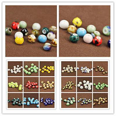 10pcs Charm Round Ceramic Porcelain Loose Spacer Big Hole Beads DIY 27 Pattern