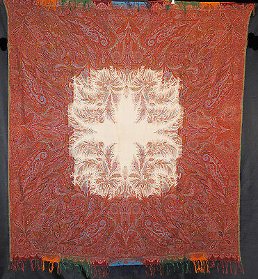 "ANTIQUE PAISLEY SHAWL FRENCH 1860's WOOL LOOMED WHITE CENTER 68"" x 63"""