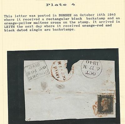 1840 Penny  Black (Pe) 4 M.plate 4 Sent To Leith On Piece Dated 16Th Oct 1840