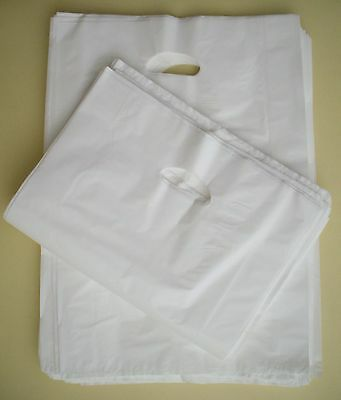 100 Plastic Die Cut Gift Fashion Carry Shopping Bags - LARGE White 500x350+100mm