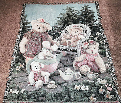 Boyds Bears Tea Party Tapestry Afghan Throw