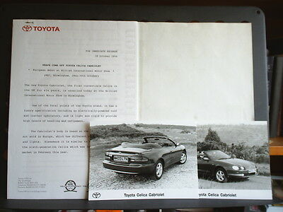 Press Release For The Toyota Celica Cabriolet - 18 October 1994