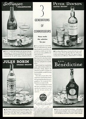 1935 Bollinger Champagne 1924 bottle photo Peter Dawson Scotch Whisky vintage ad