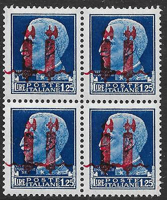 Italy/Social Republic stamps 1944 Sassone 495b DOUBLE Ovpts Bloc of 4  MNH  VF