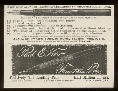 1888 Shipman's and Paul E. Wirt fountain pen vintage print ad