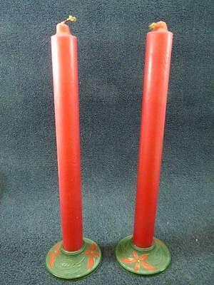 """Vintage COMPO-SITE Christmas Candle Holders #110 w Red 16"""" Candles RARE HTF (gs)"""