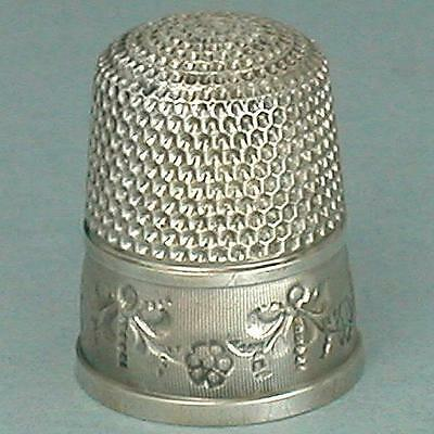 Antique Sterling Silver Floral Thimble by Simons Brothers * Circa 1900s