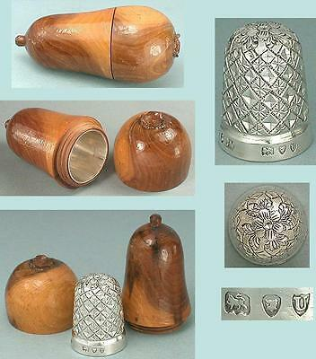 Antique Wooden Pear Holder & English Sterling Silver Thimble * Hallmarked 1895