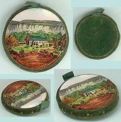 Antique Reverse Painted Glass Pin Cushion / Disc * Isle of Wight * Circa 1850