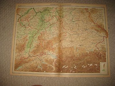 Set 3 Folio Antique 1922 East West South Southern Germany Times Atlas Map Superb