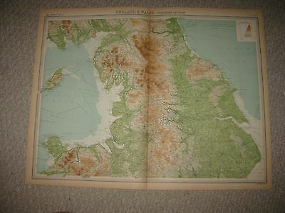 Large Antique 1922 North Northern England Wales Times Atlas Map Isle Of Man Fine