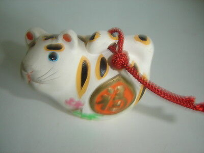 Ceramic Cat Bell Figurine Ornament Asian Japanese Chinese White
