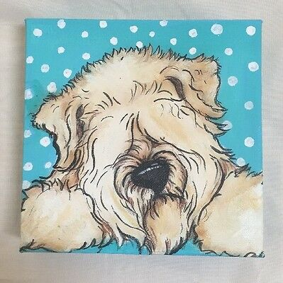 wheaten  Terrier Hand painted Whimsical  Original Art By Darci Copy Right 2017