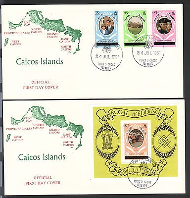 CAICOS ISLAND 1981 ROYAL WEDDING NEW YORK PRINTED SET & SOUVENIR SHEET FDC's