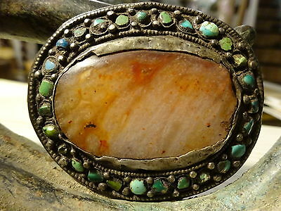 Antique Tibetan Agate Centre set on Silver and Turquoise Beads Ornament
