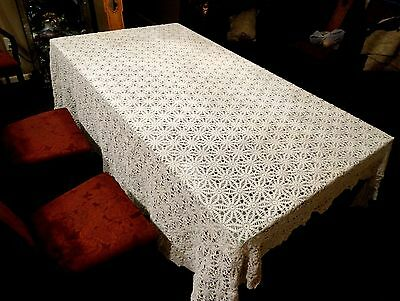 "Excellent Antique Hand Crochet Ivory Cotton 96"" x 90""  Tablecloth"
