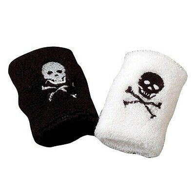 Set Of 2 Two Pirate Skull & Crossbones Stretchy Wristband Jolly Roger Sweatband
