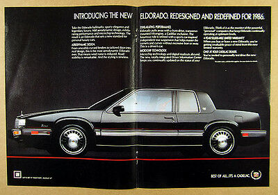 1986 Cadillac ElDorado El Dorado black car photo vintage print Ad