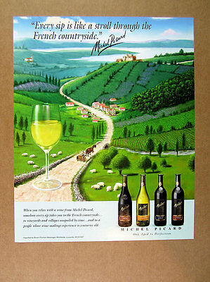 1998 Michel Picard Wines French Countryside Vineyards Sheep illustration art Ad