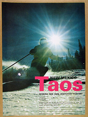1970 Taos Ski Valley New Mexico skier skiing photo vintage print Ad