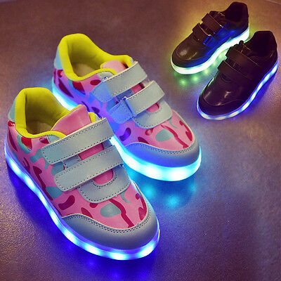 Kids Luminous 7 Color LED Light Up Casual Shoes Boys Girls USB Recharge Sneakers
