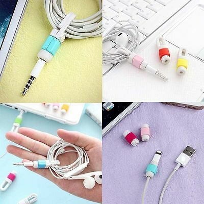 Charging Headphone Cable Wire Organizer Cord Clips Earphone Line Button Winder