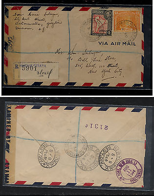 British Guiana nice franking registered  censor cover to US 1944         KEL1127