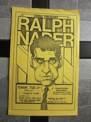 1960s Ralph Nader University Event Poster - Green Party Unsafe at any Speed +