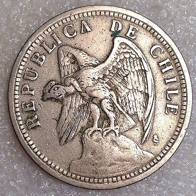 Chile 1 Peso 1933 Larger Copper-Nickel Coin   #4567