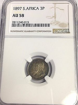 AU-58 1897 SOUTH AFRICA ZAR 3 PENCE silver coin KM#3, NGC