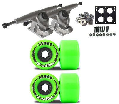 RANDAL 180 TRUCKS RETRO WHEELS 72mm FREERIDE Green LONGBOARD PACKAGE